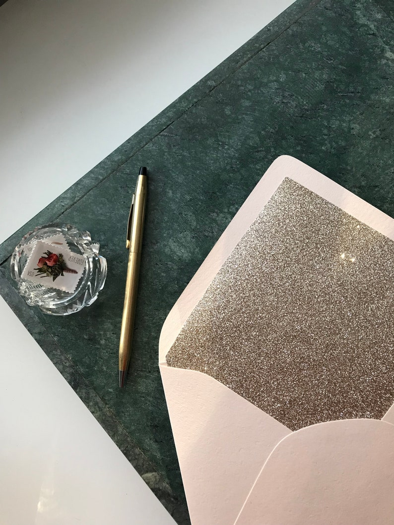 Save the Date Wedding Invitation Envelopes Luxe Blush Pink Gold Glitter Lined A7 5X7 Envelopes Bridal Shower