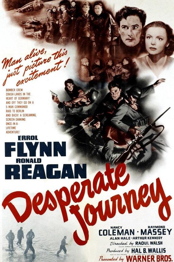 Desperate journey Errol Flynn vintage movie poster print