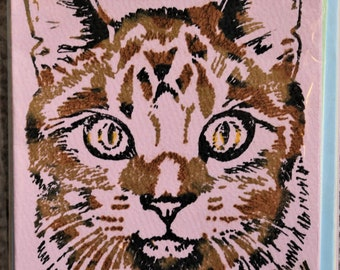 Cat card. Cat birthday card. stationary. Hand printed, hand made, gocco, screen print, art, cat painting, birthday card, blank, card, cat