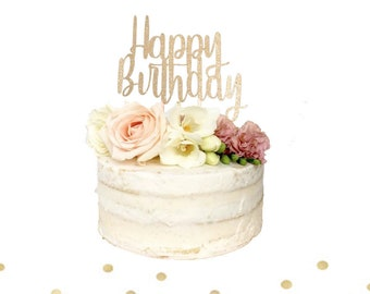 FREE SHIPPING Happy Birthday Cake Topper Custom Made Gold Glitter Durable 8 Inches Wide 6 High