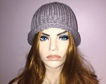 Handmade knitted crocheted gray with silver linings fashionable women's hat beret beanie