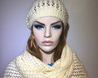 Knitted crocheted handmade beige hat beret beanie and scarf set