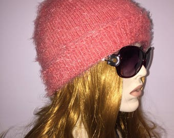 Peachy color georgeous so soft comfy fashionable handmade knitted beanie hat beret