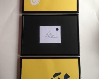 Set of 3 Handmade Framed A4 Paper Art Mountains