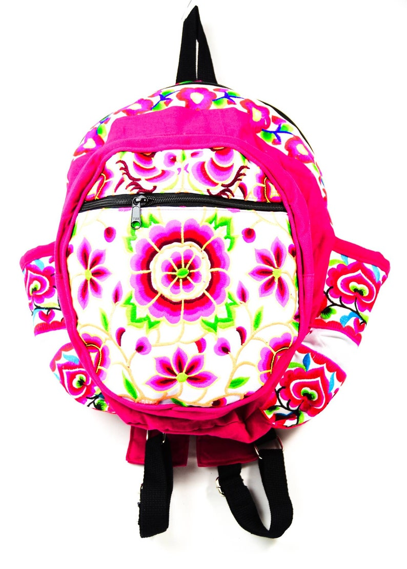 liner with cushion three layers with zipper Handmade Flower Design Backpacks with Embroidered Fabric ;  9 x 7 x 14 Sidedpockets