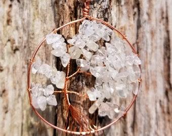 Handmade Wire Wrapped Tree of Life Pendant - Milky Quartz