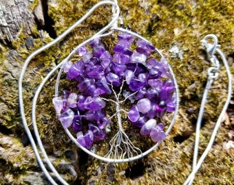 Handmade Wire Wrapped Tree of Life Pendant - Amethyst