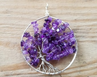 Handmade Wire Wrapped Tree of Life Pendant - Offcenter - Amethyst