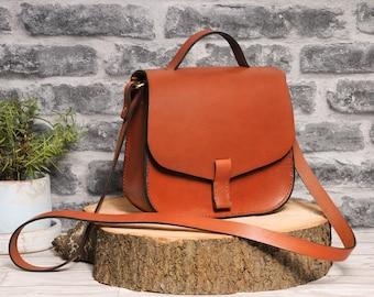 ARYA Cross Body Satchel Bag - Full Grain/Natural Leather - Oxblood Red/Black/Brown/Tan/Natural purse handbag