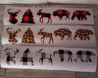 Buffalo check/leopard print decals for DIY ornaments,Yeti tumblers,stickers, deer, tree, moose, bear, buffalo