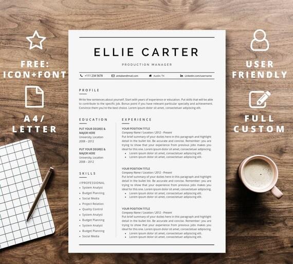 Lebenslauf Vorlage Sofort Download Für Word Professionelle Etsy