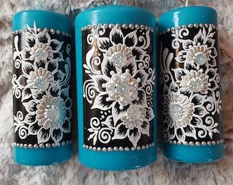 Henna Candle Set / Deco Candle Set Turquoise