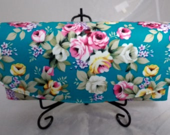 Teal Floral Purse made using the Necessary Clutch Wallet Pattern