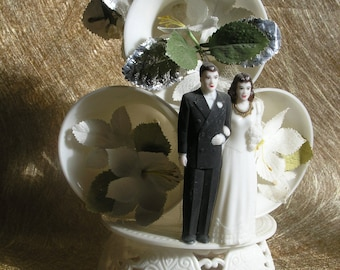 Vintage bride and groom with three Bells good luck cake topper Dove on top
