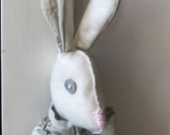 Easter Bunny with Carrot, Decorative Rabbit Shelf Sitter