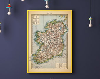 Print Map Of Ireland.Ireland Print Etsy