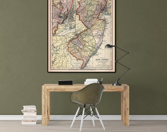 New jersey map etsy old map of new jersey new jersey state new jersey map new jersey wall art new jersey poster us map map print map poster large map gumiabroncs Choice Image