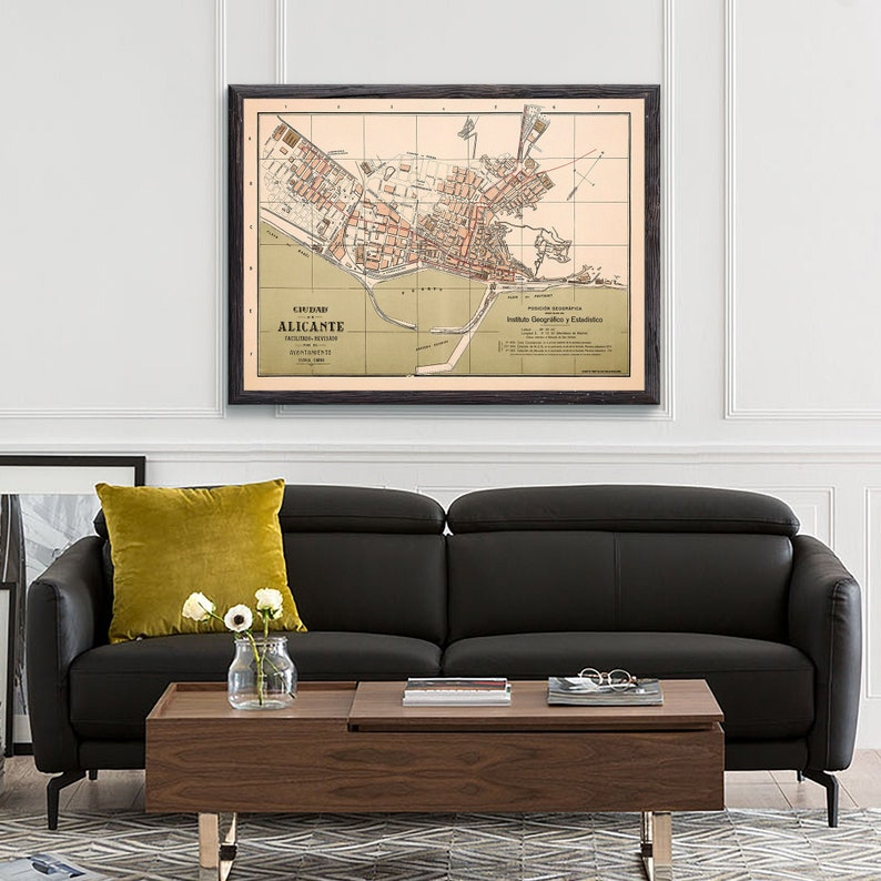 Map Of Spain Showing Alicante.Old Alicante Map Alicante Spain Alicante Print Alicante Art Alicante Map Vintage Map Poster Map Gift Map Print Gift Fo Him
