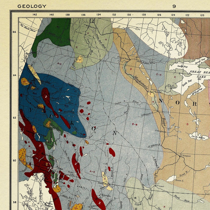Geological Map Of Canada Geologic Canada Map Geology Map   Etsy on