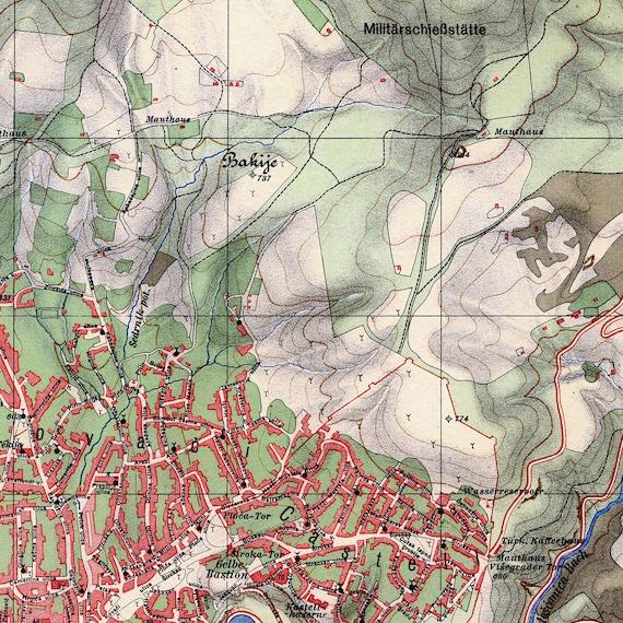 Old Sarajevo Map Sarajevo Bosnia And Herzegovina Vintage Map Etsy