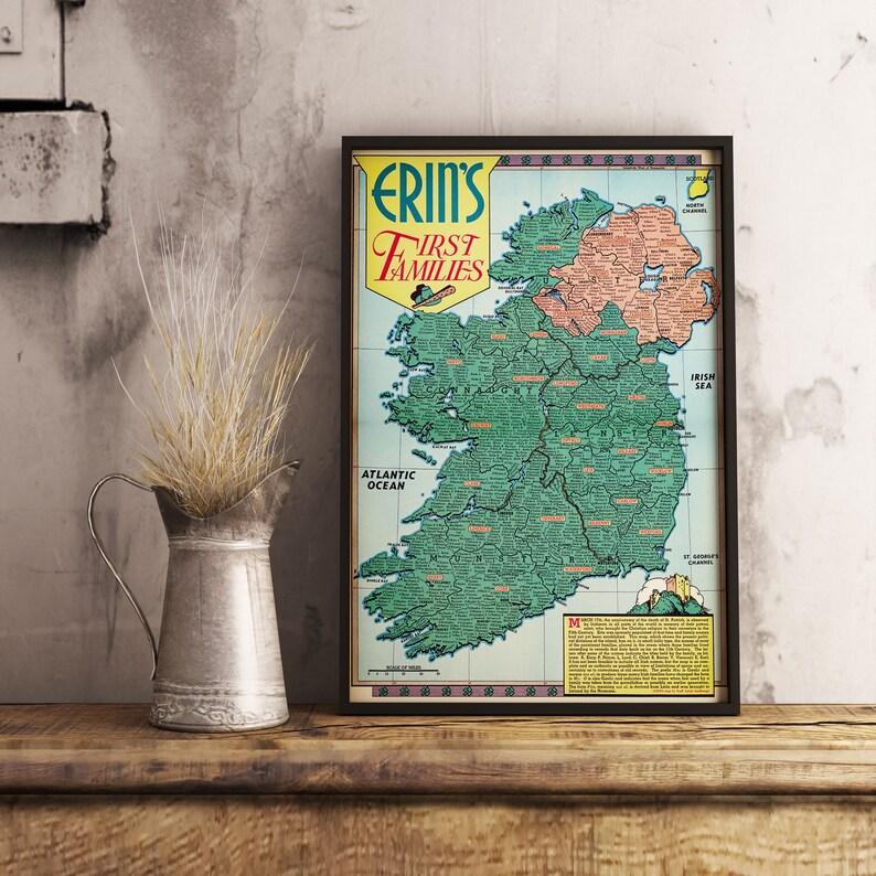 Map Of Ireland Heritage Sites.Ireland Map Ireland S Names Map Ireland Heritage Ireland Gifts Ireland Decor Ireland Art Map Gift Map Poster Map Print Large Print