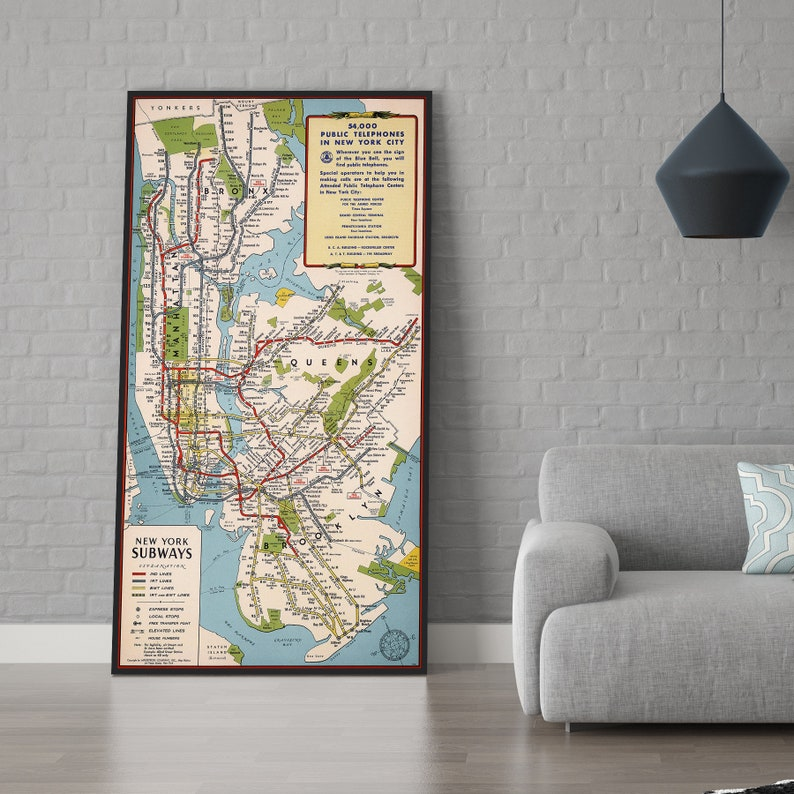 Queen Subway Map Nyc.New York Subways Map New York City New York Map New York Poster Old Map Map Print Map Gifts Map Decor Large Map Wall Art