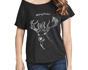 Deer Familiar Tri-Blend Dolman, Deer Familiar T-Shirt, Wicca, Pagan Fashion, Meet My Familiar, Deer Pet, Witchy Fashion, Witchy Stuff For Me