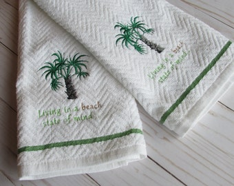 Embroidered Palm Tree Towel