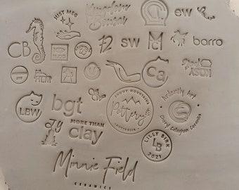 Custom Makers Stamp, Pottery Stamp, Custom logo Stamp, Initial Stamp, Soap Stamp, Cookie Stamp, Ceramic Stamp, Highly Detailed Logo Designs