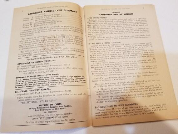 January 1964 California Vehicle Code Summary