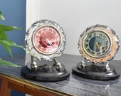 On of Two Vintage Crystal and Bakelite Table Clocks Majak Crystal Clock Made in USSR Soviet Mechanical Clock