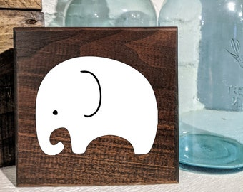 Baby Elephant Sign / Shelf Sitter / Wall Hanging
