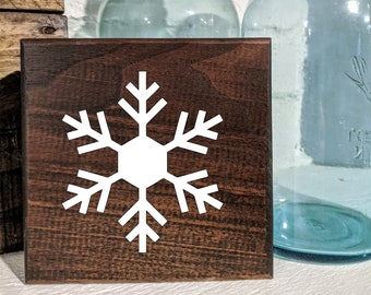 Snowflake Winter Christmas Sign / Shelf Sitter / Wall Hanging