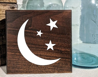 Baby Moon & Stars Sign / Shelf Sitter / Wall Hanging