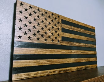 Engraved USA Wood Flag --> Donation to the Wounded Warrior Project! (see description)