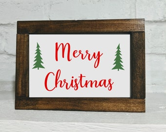 Merry Christmas Sign - Shelf Sitter Sign - Christmas Decor