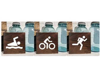 Swim Bike Run Signs / Shelf Sitter / Wall Hanging