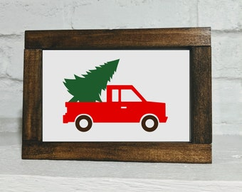 Christmas Tree Truck Sign - Shelf Sitter Sign - Christmas Decor - Christmas Sign