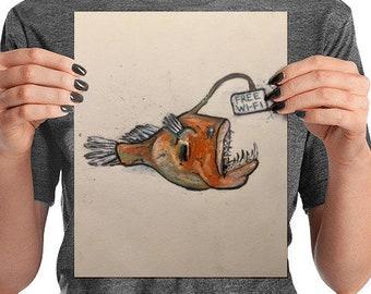 """Angler fish """"free wifi"""" print"""