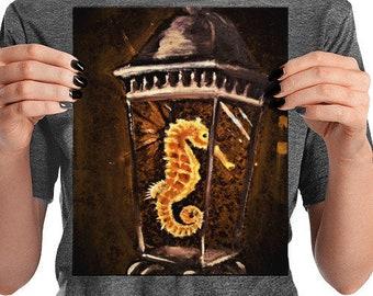 Sea horse lantern print