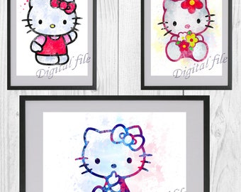9bbb35453 Hello Kitty, Hello Kitty print, poster, home decor, nursery room, wall  decor, Hello Kitty watercolor art, 3 digital files, instant download