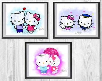 46bc2fee1 Hello Kitty, Hello Kitty print, Hello Kitty dear, poster, home decor,  nursery room, wall decor, watercolor art, 3 digital files