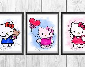 e65841376 Hello Kitty, Hello Kitty print, Hello Kitty poster, home decor, nursery  room, wall decor, watercolor art, 3 digital files, instant download