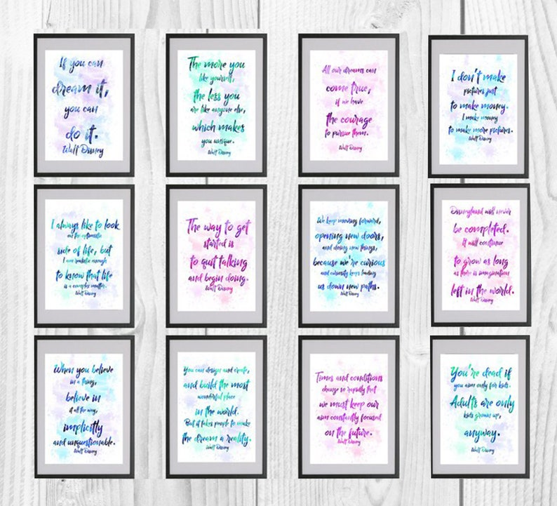Walt Disney, Disney print, Quote Prints, poster, home decor, nursery room,  wall decor, Quote Disney watercolor, art, 12 digital file