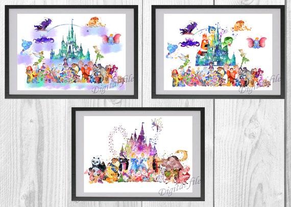 Cinderella Castle The Little Mermaid La Belle Et La Bête Disney For Print Poster Home Decor Nursery Room Watercolor Art 3 Digital Files