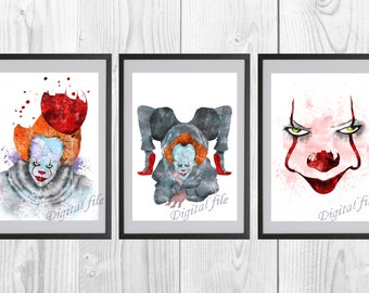 IT, Stephen King's, for print, Pennywise Poster, Pennywise Clown, Poster Clown, home decor, wall decor, watercolor art, 3 digital files