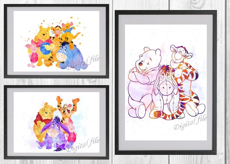 Pooh Tigger Piglet and Eeyore Winnie the Pooh Disney Print Baby Nursery UNFRAMED