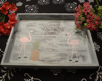 Rustic Wood Tray, handpainted, farmhouse decor