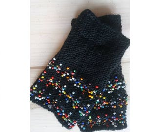 Hand warmers, fingerless gloves, wrist warmers, beaded wrist warmers