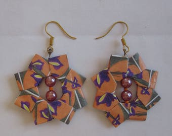 folded paper and beads earrings